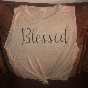 Women's Casual Blessed Muscle Tie T-Shirt Medium